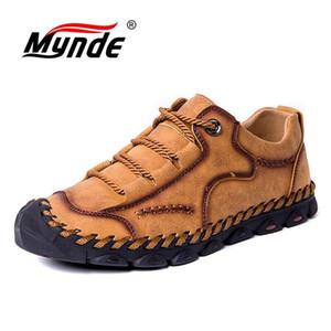 Mynde 2019 Nuevo estilo de moda Zapatos casuales de primavera de cuero Hombres Mocasines vintage hechos a mano Pisos Venta caliente Mocasines Tamaño grande 38-48 MX190729