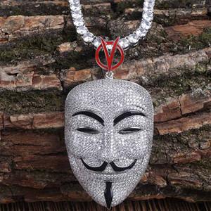 Top di lusso di qualità oro bianco completa zirconi Mens Vendetta Maschio ruolo di primo piano maschera Ritratto di torsione della catena monili della collana di diamante di Bling