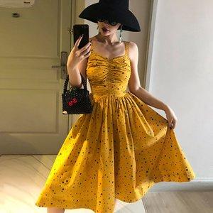 le palais vintage стильный плиссированный желтый горошек A-line платье тонкий высокий рост спагетти ремни тонкий высокий рост платье 2019 лето