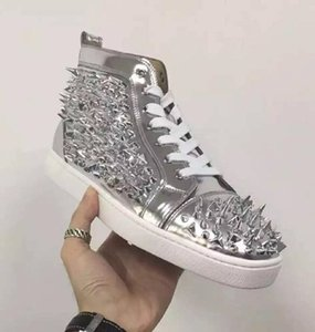 Luxury High Top Red Bottom Sneaker Shoes Spikes Crystal flats Men's Casual Shoes Outdoor Trainer Fashion Crystal Men's Party Dress Wedding