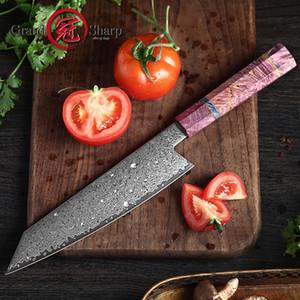 8.2 pulgadas cuchillo cocinero VG10 Damasco de acero japonés cuchillos de cocina cuchillo carne vegetal Kiritsuke rebanar con caja de regalo Grandsharp
