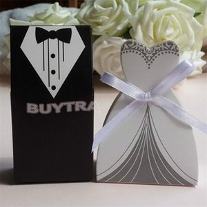 100Pcs Wedding Decoration mariage casamento Bridal Gift Cases Groom Tuxedo Dress Gown Ribbon Wedding Favors Candy Box Sugar Case