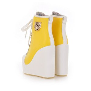 Women's Ankle Boots Super High Wedges Ankle Boots Lace Casual Women's Large Size Shoes Women