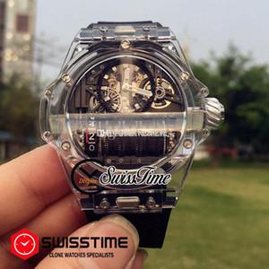 Vendita Miyota 8215 Automatic Watch Mens scheletro di plastica trasparente Dial Orologi di gomma nera Nuova a buon mercato MP11 SwissTime HUBG41