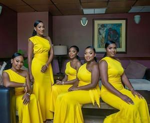 Sarı Tek Omuz Denizkızı Gelinlik Modelleri 2020 Afrika Saten Prom Parti Elbise Kanat Pileleri Uzun Örgün Wedding Guest Önlük