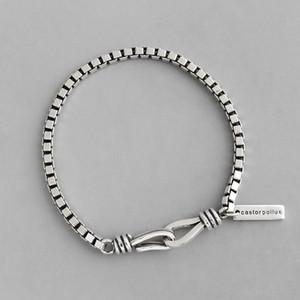 S925 plata diseñador retro áspera cadena de Caja pulsera para las mujeres Pareja pulsera joyería de plata