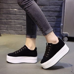High Heels Ladies Casual Shoes 2018 Spring Fashion Lace-Up Women's Shoes British Style Women Sneakers Autumn Platform Shoes CJ191128