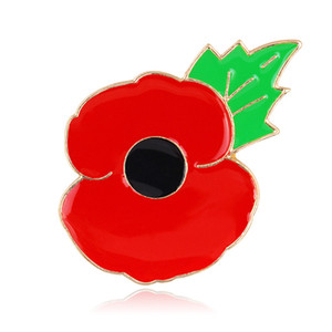 Red Poppy Flower Brooches Pin Green Leaf Small Lapel Pin Badge Enamel pin Remembrance Day Gift DHL Free Shipping