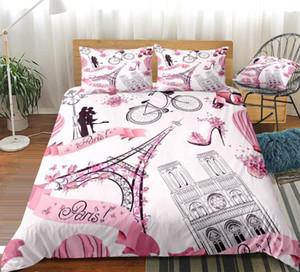 Torre Eiffel duvet cover set muchachas rosadas del lecho de París romántica Cama Ropa de cama de lino Pareja niñas amante Textiles para el Hogar