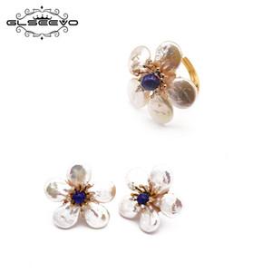 Pendientes del anillo GLSEEVO natural de agua dulce barrocos de la perla para el banquete de boda regalo de las mujeres 925 sistemas de la joyería GS0007ABOUT GLSEEVO