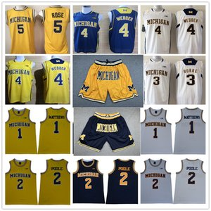 Michigan Wolverines Shorts Basketball-Trikots-Sets Charles Matthews Poole Chirs Webber Trey Burke Jalen Rose Gelb Blau College-Shirts Tops