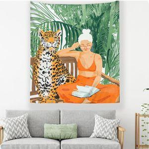 Verano niña habitación universidad dormitorio tapiz de tela moderno tapiz tropical decorativo tenture mural