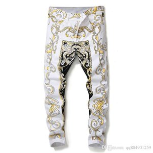 19ss Wholesale-Mens Snake Skin Print Camoflague Original Designer Slim Hip Hop Rock Jeans Pants mens pants Men Skinny Jeans Streetwear