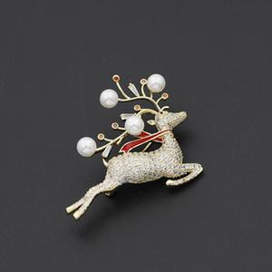 Spilla Deer Donne Deer femminile Spilla perla di alta qualità del nuovo progettista Spilla elegante forma Sika cristallo di lusso
