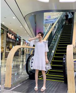 2019 été nouvelle robe en mousseline de soie féminine jupe coréenne douce petite jupe fée blanche