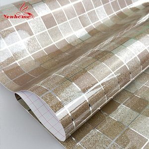 PVC auto-adesivo Wallpaper Modern Bathroom Wall Paper Kitchen Tile Mosaic impermeável adesivos de vinil Home Decor Wall Stickers Y200103