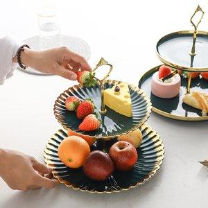 Tier 2 Double Layer ouro Bolo Cakecup Stand Holder cerâmicos Pratos Fruit Tray pastelaria Porcelain Sobremesa Suporte Placa Food exibição