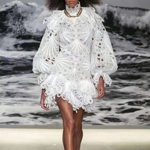 2020 Primavera Sexy Puff luva cintura alta Magro Sem Costas Vestido Mulheres Auto-Retrato Vestido branco a cores Lace Vestido Mini Feminino