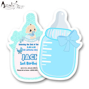 Boy Baby Shower Theme Party Invitation Card Boys Birthday Party Decoration Supplies Blank Custom-made Feeding Bottle Invitations