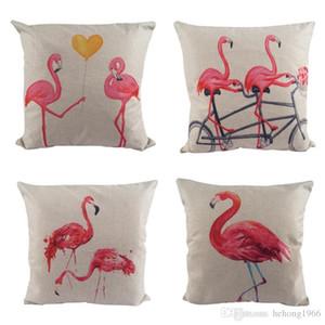 New Classic algodão e linho Capa de Almofada Flamingo Impressão fronha clássico Sofá decoração do quarto 8DZ Decor fronha de alta qualidade