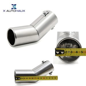 """utomobiles & Motorcycles X AUTOHAUX Universal Stainless Steel Curved Exhaust Tail Car Muffler Tip Pipe Fit Diameter 1.91cm 0.75\"""" to 3.81..."""