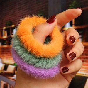 Fur Scrunchie Mulheres Meninas Bandas inverno Plush Faux Coelho Kid Elastic borracha cabelo Acessórios Tie Rope Titular Anel Mantilha