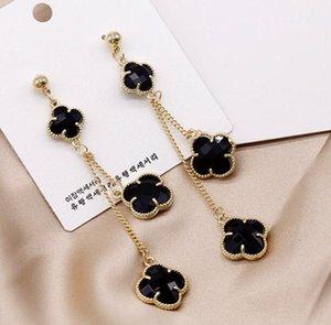 Brand Designer Earrings S925 Silver Needle Clover Dangle Earrings for Women Jewelry Fashion Long Earring for Party