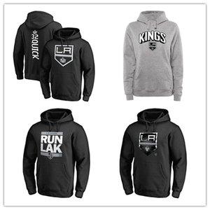 Men's Los Angeles Kings Branded Hockey Hoodies Black Gray 18 19 Sport hoody long Sleeve Outdoor wear cheap price Jackets printed Logos