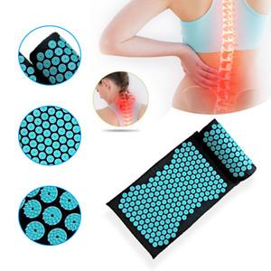 Massager Cushion Pillow Yoga Mat Acupressure aliviar a aliviar corpo de dor de Spike Mat Acupuntura Massagem Mat com Pillow