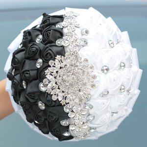 Shiny Rhinestone Tassel Bridal Bouquet Artificial Rose Wedding Flower Bouquet Crystal Brooch Ribbon Bridesmaid Bouquet High Quality