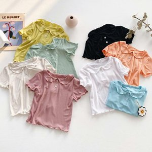 Kids Clothes Baby Solid Shirts Girls Doll Collar Lovely T-Shirt Summer Candy Color Lapel Shorts Short Sleeve Casual Tops Undershirt BYP321