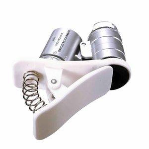 Etmakit Universal 60X 3LEDs ópticos Clipe Mobile Phone Microscópio Magnifier Micro Lens 60X Optical Zoom Telescope Lens Camera