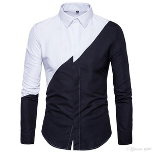New Style Hot Shirt Summer Men's Black and White Casual Shirts Stitching Long-Sleeved Shirts for Men Contrast Color Hot Top Fashion Clo