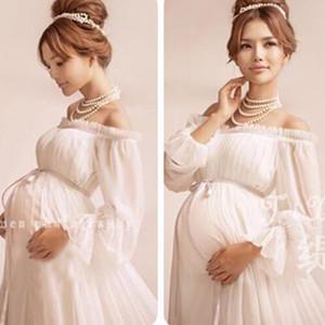 Novo Estilo Real Branco Maternidade Vestido De Renda Fotografia Grávida Adereços Gravidez maternidade sessão de fotos vestido longo Camisola