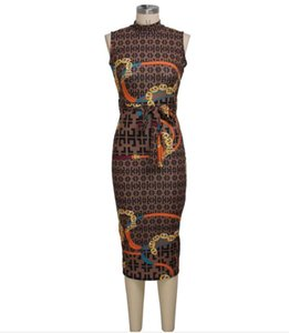Luxury High-grade Elegant Leisure dress Sexy fashion slim sleeveless women's dress Sexy printed pencil skirt