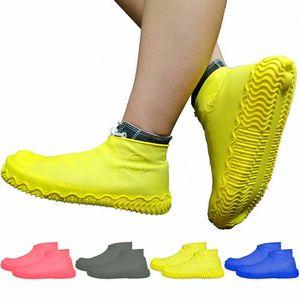 1Pair Reusable Latex Waterproof Rain Shoes Women Men Cover Rubber Slip-resistant Rain Boot Overshoes Men Women Shoes Accessories