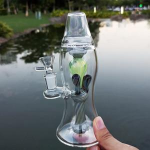 8-Zoll-Lava-Lampe Heady Glaspfeife Turbine Perc Thick Bongs Grün Einzigartiges Öl Dab Rigs 14mm Joint Wasserrohre Mit Schüssel