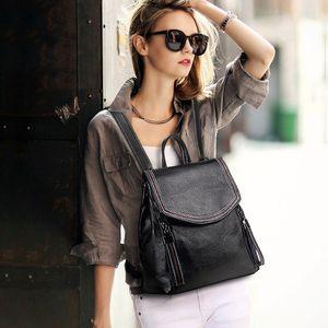 LongLight Women Genuine Leather Backpack Full Grain Leather Luxury daypack Women Bags Designer Fashionable Bag Lady Women Bag