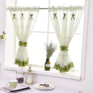 2pcs Simple Pastoral Style Kitchen Curtain High Quality Linen Cloth Curtain with Green Lace Rod Pocket for Window door