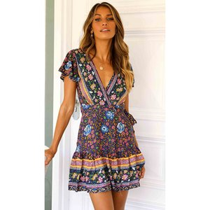 New Summer Dresses For Womens Short Sleeve Bohemian Beach Pleated Dress V-neck Pendulum Flower Casual Dress women Clothing S-XL wholesale