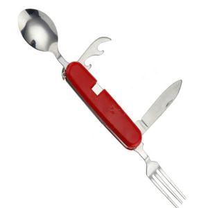 Multifunzionale pieghevole da tavola in acciaio inox 4 in 1 Outdoor lame di campeggio Forks Poon Cucina Posate Posate Imposta WY159Q