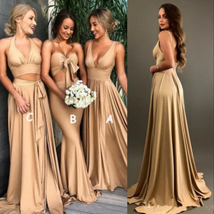 Sexy Gold Bridesmaid Dresses with slit 2020 Cheap V Neck Long Boho country beach Maid of Honor Gowns Plus Size Wedding Guest Wears