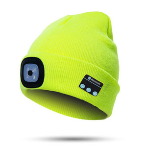 LED Bluetooth Hat Cordless Music Knit Beanie Cap For Outdoor Running Climbing