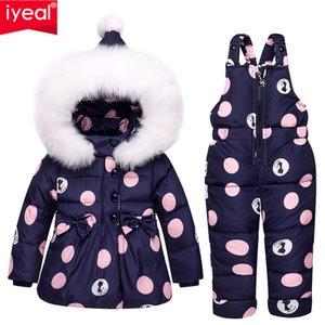 IYeal roupa do inverno Crianças Meninas Define Duck com capuz quente para baixo Coats Jacket + Calças Waterproof Snowsuit Baby Kids ClothesMX190916