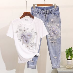 Amolapha Women Sequined Beaded 3D Flower Cotton T-shirt +Calf-length Jeans Clothing Sets Summer Mid Calf Jean Suits