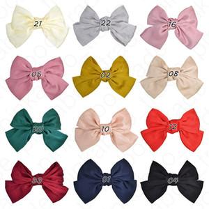 INS das meninas bonitos Big bowknot para cabelo Grampos Mulher Kids Hairpin cor sólida pitada de pica Barrettes Moda Headress Headwear E4703