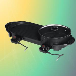 2 in 1 220V Elektro Hot Pot Ofen Smokeless Barbecue-Maschine Startseite BBQ Grill Indoor Bratenfleisch Teller Teller Multi Cooker