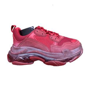 Triple S Vin femmes couleur rouge entraîneurs des hommes 2019 nouvelles femmes Top Factory Version chaussures pour hommes occasionnels avec la boîte