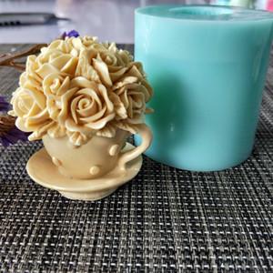 HC0120 PRZY moule savon moule silicone fleur rose tasse savon à la main de fleurs fabrication de moules bougie T191018 de moule d'argile de résine de moule en silicone