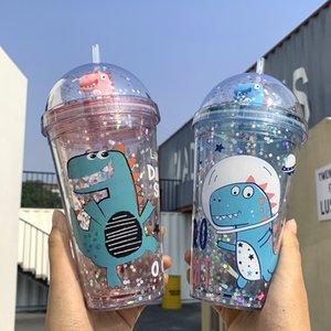 2020 Kids Cartoon crocodile Sequined BPA Free Water Bottle with Straw Plastic Flash Cat Ear Double Wall Drinking Bottle Coffee Juice Cups